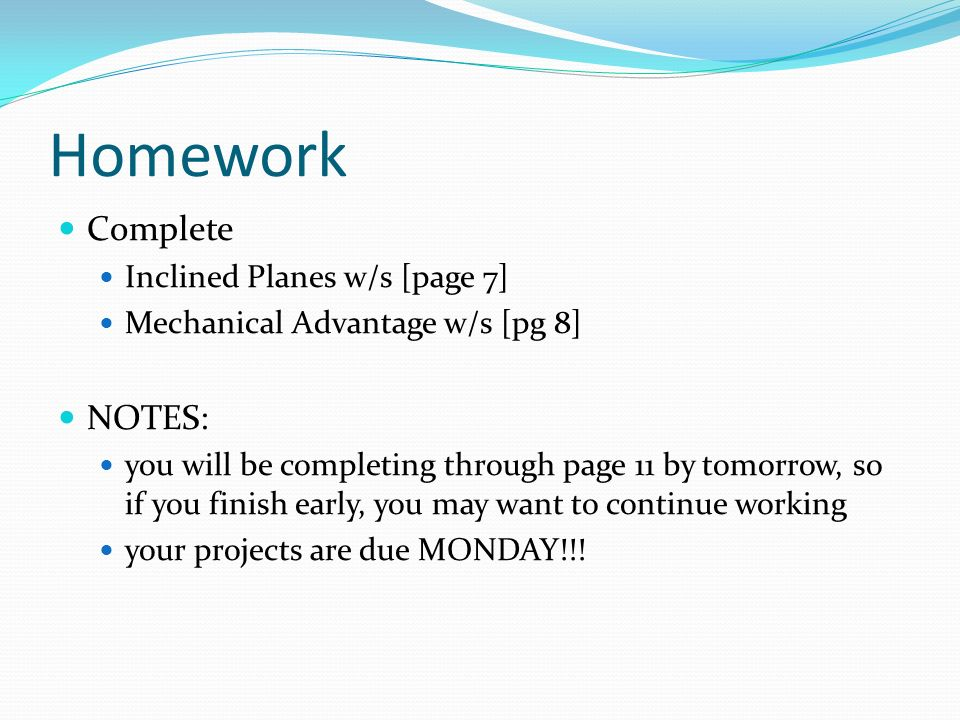Homework Complete NOTES: Inclined Planes w/s [page 7]